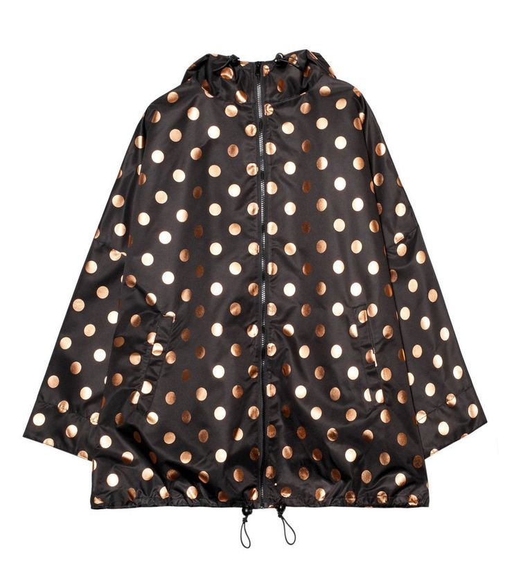 Or, for the fashion-forward Piglet, a black raincoat with rose gold polka dots. Cheery for a grey day!