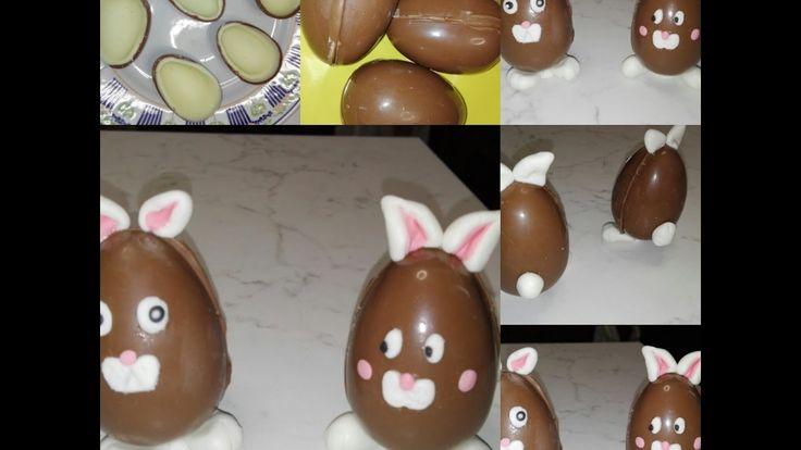 Ovetti di cioccolato decorati con pdz   Coniglietti pasquali