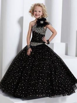 2014 de la alta calidad negro vestido flor chica banquete de boda de los niños vestidos princesa del desfile de vestido de los cabritos