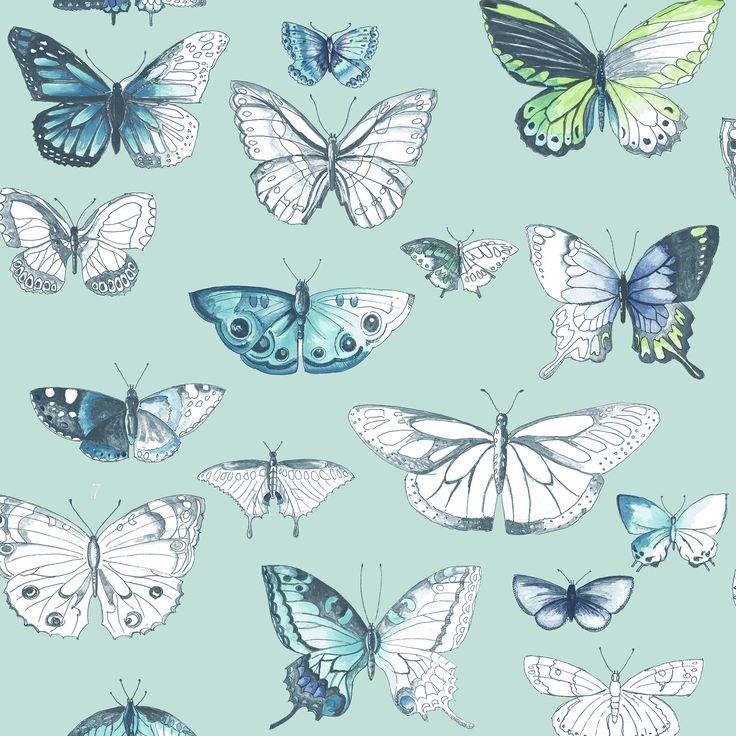 Papierbehang 50-653 Butterflies Duck Egg Karwei