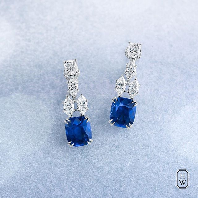 Harry Winston. Cushion-Cut Sapphire and Diamond Drop Earrings.