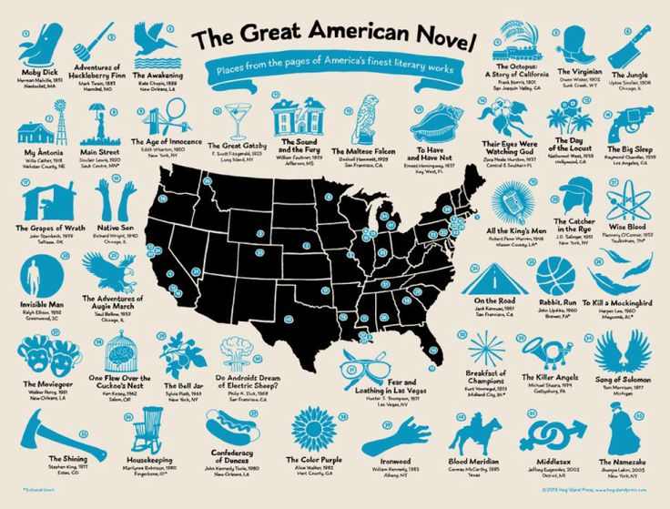 The Great American Novel, A Hand-Drawn U.S. Map Plotting the Locations of  42 Classic Works of Fiction