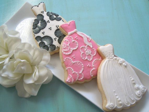 Bridal Shower Wedding Gown Cookies. $45.00, via Etsy.