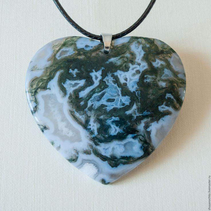 Купить Кулон МОХОВОЙ АГАТ СЕРДЦЕ - агат моховой зелёный, натуральный агат