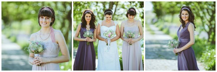 My lovely bridesmaids in purple and blush pink with lace headbands. ♥