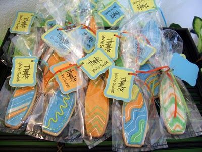 Sugar cookie surfboards as party favors.  From Memories By Anna Dawn.