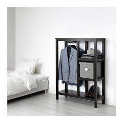IKEA - HEMNES, Öppen garderob, svartbrun, Gjord av massivt trä som är ett slitstarkt och levande naturmaterial. Du får en bra överblick och kan enkelt nå dina kläder.