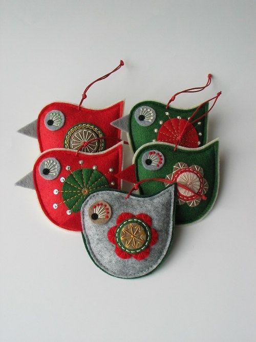 Vánoční dekorace- ptáček 5 kusů