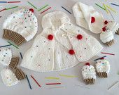 Baby Set With Hat, Poncho, Booties, Mitten And Scarf, knitted, Strawberry
