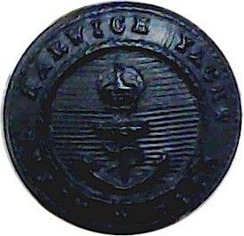 Royal Harwich Yacht Club 15mm – Black with King's Crown. Horn Yacht or Boat Club jacket button