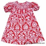 You will go ooh-la-la for our designer LeZaMe Girls Dressy Damask Smocked Bishop Dress in festive Christmas red.� This 100 percent beauty comes in sizes infant to little girl. The little girls' dress is hand-smocked dress. ShopBestDressedChild.com for holiday boys' and girls' dresses, and everyday outfits.