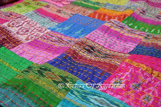 Kantha Blanket Bedspread Twin Kantha Patch Kantha Throw Patola Silk Patch Work Kantha Quilt Kantha Rallies Indian Sari Quilt