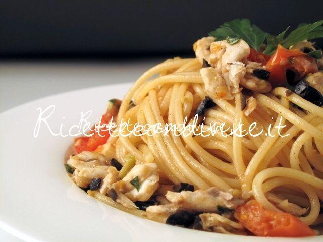 Ricetta Spaghetti con branzino olive e pomodorini di Manlio Midori