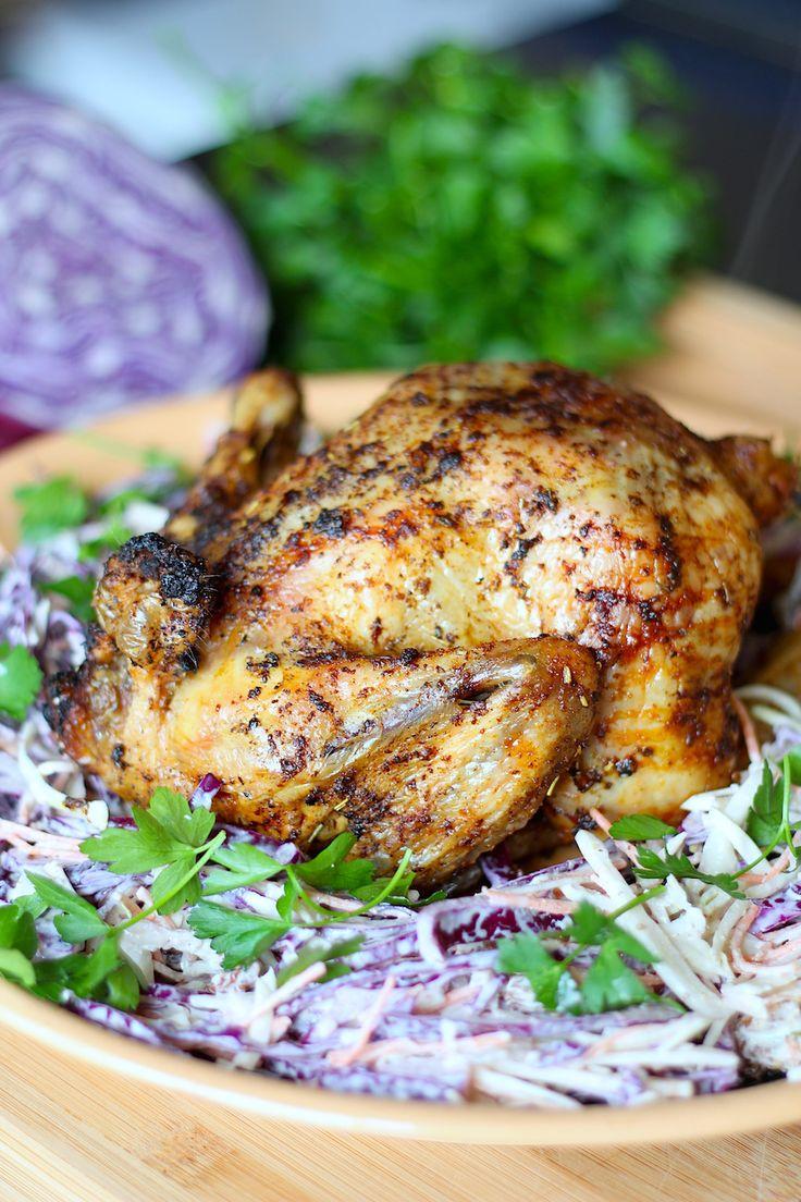 Heerlijke geroosterde kip met zelfgemaakte kipkruiden en koolsalade // Francesca Kookt