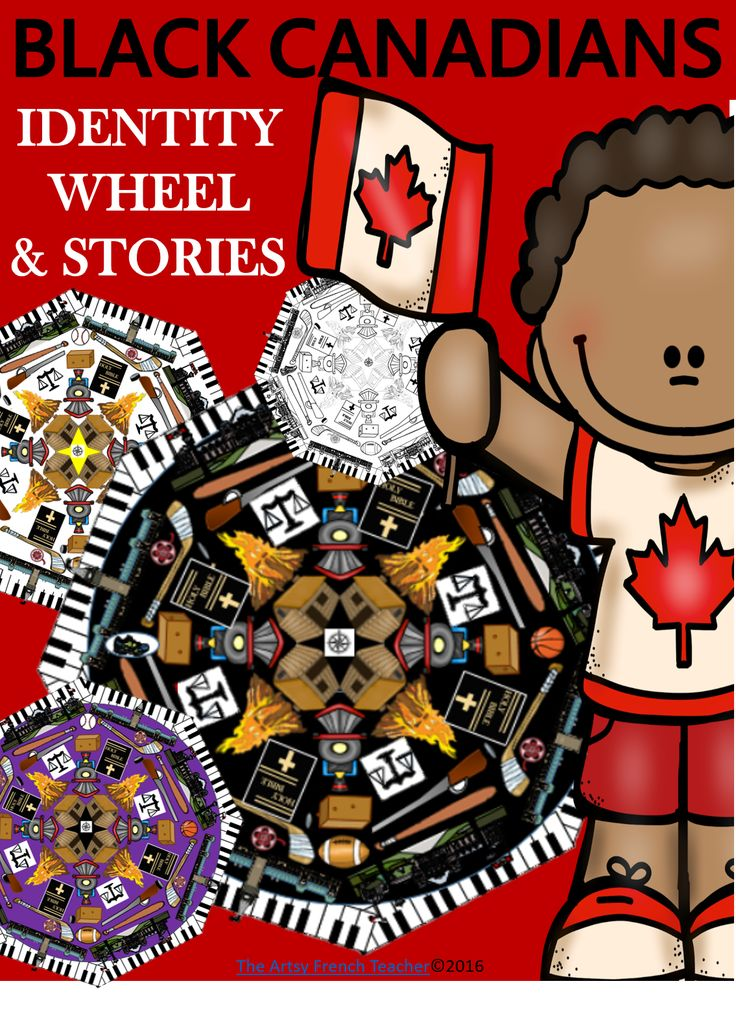"Inspiration found at Uncle Tom's Cabin, THE BLACK CANADIANS - IDENTITY WHEEL & STORIES - 22 p. ""artsy"" unit incorporates the Black perspective into our pedagogy to help develop more inclusive students:  Teacher notes; Black quiz; Inquiry Page; 2 versions of 18 bios; The black-line Identity Wheel; Supporting Internet links; List of picture books; Timeline Project; Create an identity wheel (template); Inquiry Project template; Crossword puzzle; List of Add'l Significant Black Can's. TPT $"