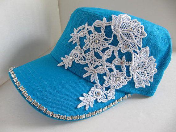 Cadet Hat, Teal, Military Hat, Woman Hat, Rhinestones, Bling Hat, Women Hat, Embellished Hat, Teen, Girls, Pink Bling Hat on Etsy, $23.00