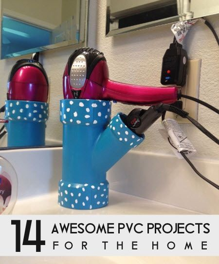 PVC is a plastic pipe used a lot in plumbing. Available for free or cheap at all home improvement stores, PVC is totally versatile for tons of great crafts. From the artistic to the practical, you'll love the awesome ideas found here. Check out these great PVC ideas at decoratingyoursmallspace.com here… 14 Awesome PVC Projects …
