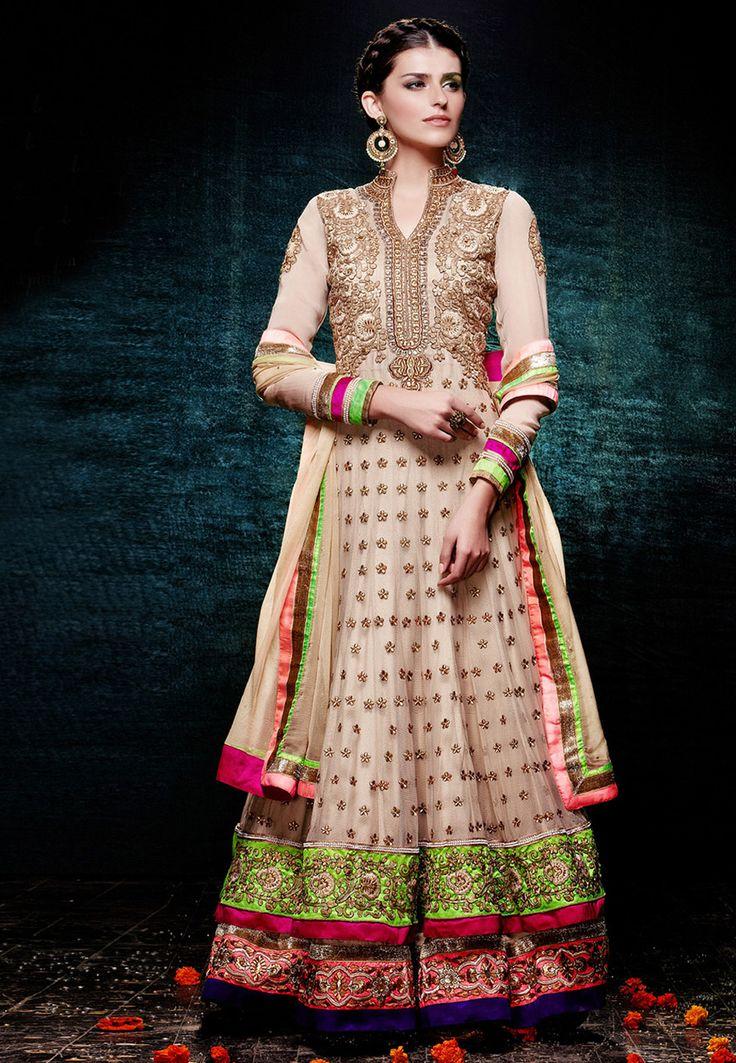 Beige Net Abaya #Style #Churidar Kameez Online Shopping: KCR5532