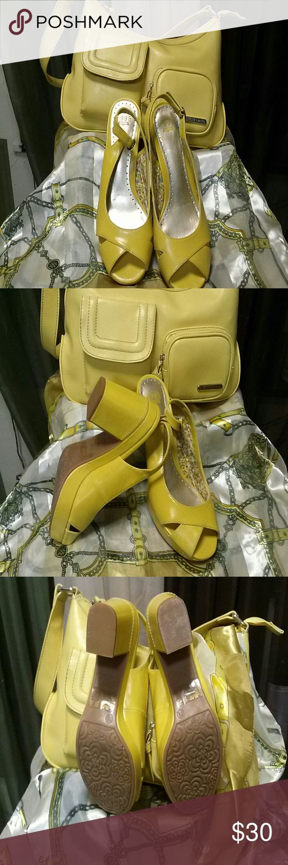 SHOES $15 AND  HANDBAG $15 or TOGETHER $35 YELLOW SLING BACK PLATFORMS/ HANDBAG  Route 66 /Jacklyn Smith Shoes Heels