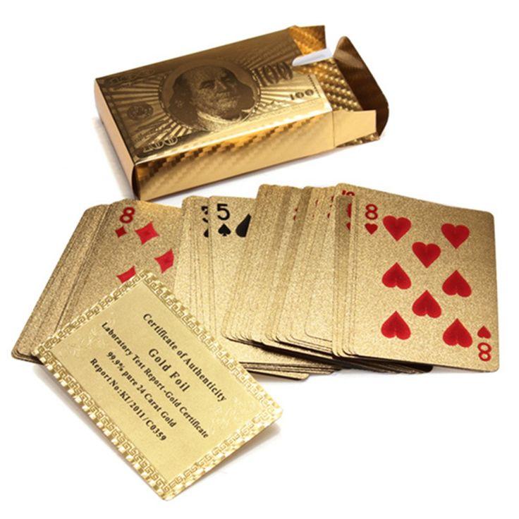 Heißer Verkauf Reine 24 Karat Karat Neuheit Zertifiziert Goldfolie Überzogen Poker Spiel Spielkarten w/52 Karten & 2 Joker Spezielle geschenk