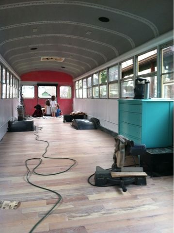 Bus camper. This is pretty much all.  Gutted,  cleaned,  and wood style floors for camps...