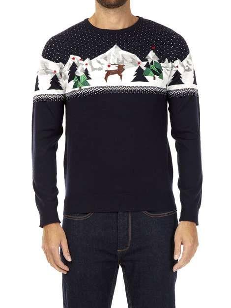 Navy Polygon Reindeer Novelty Christmas Jumper