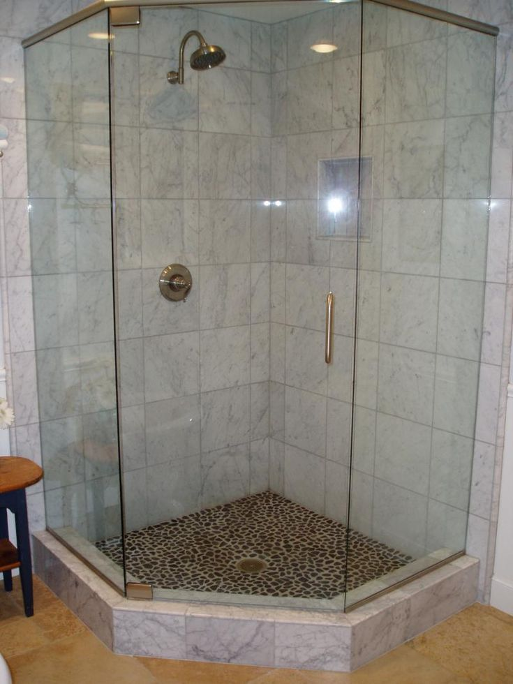 Delightful Create Custom Bathroom With Tile Shower Designs: Tiled Shower Ideas And  Walk In Shower Enclosures And Glass Shower Door Also Pebble Tile Flooring  With Tile ...