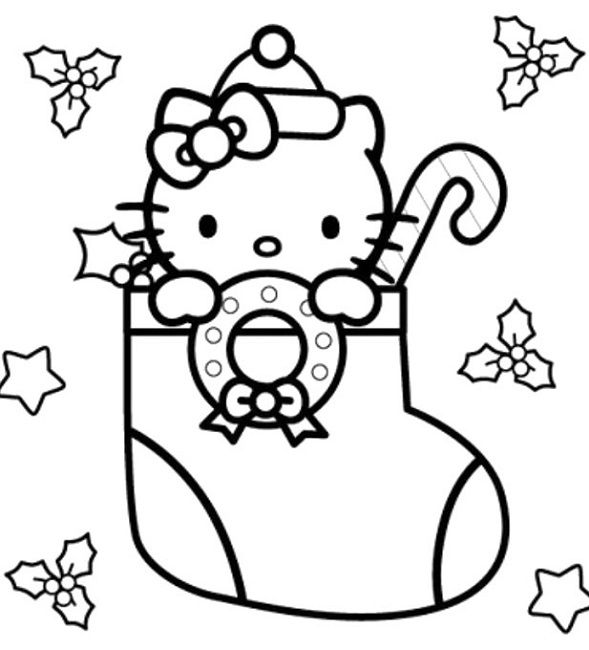 hello kitty colouring pages to print for christmas