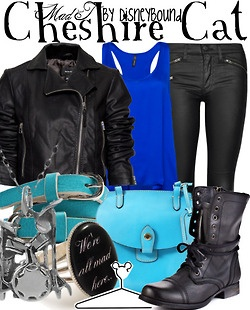 Cheshire Cat by DisneyBound.....I love the blue, but it doesn't really make sense for the cheshire cat?