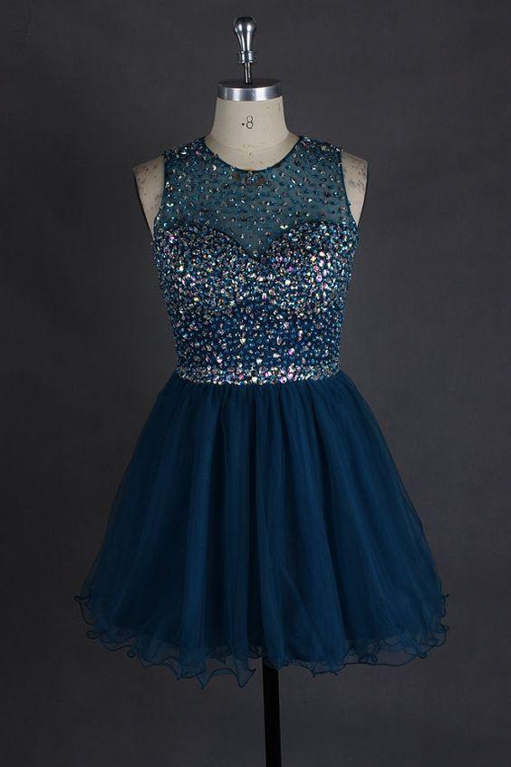 Short beading homecoming dress