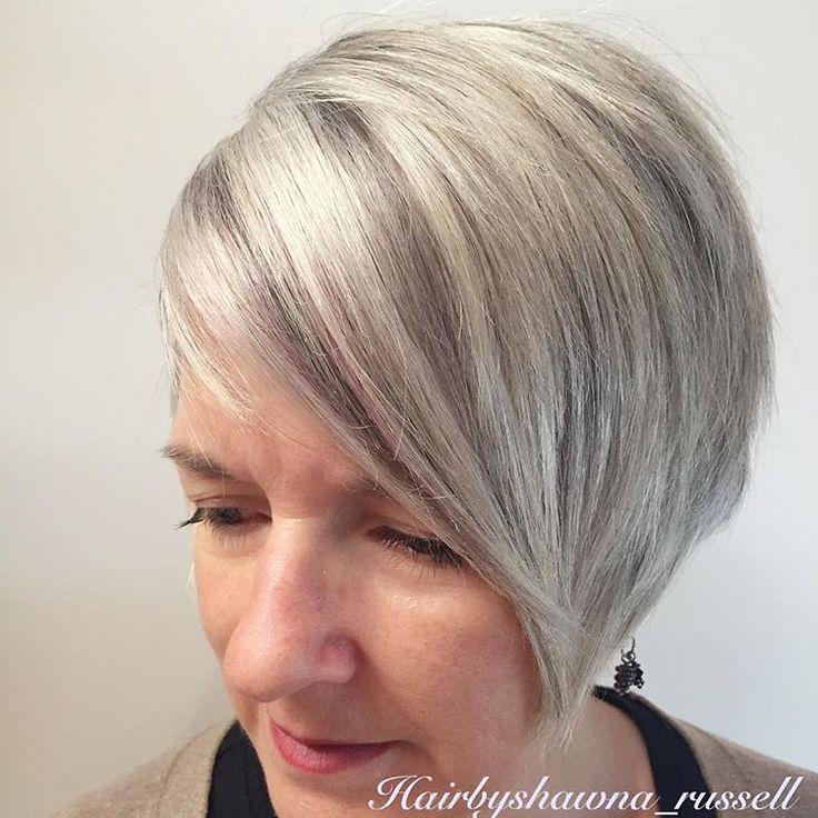 silver highlights and soft charcoal lowlight #nothingbutpixies #silverhair #hairinspo #hair #schwarzkopf #modernsalon #behindthechair #igora #megabits #shorthairpost