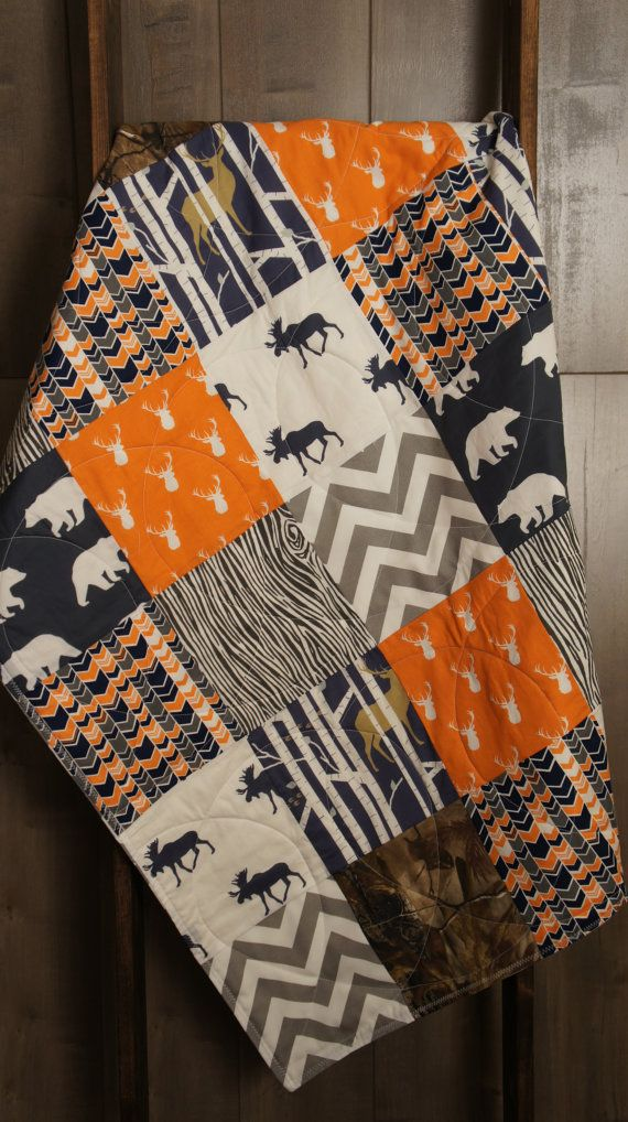 Baby Boy Hunting Quilt  Baby Quilt  Woodland  Deer  by Babylooms