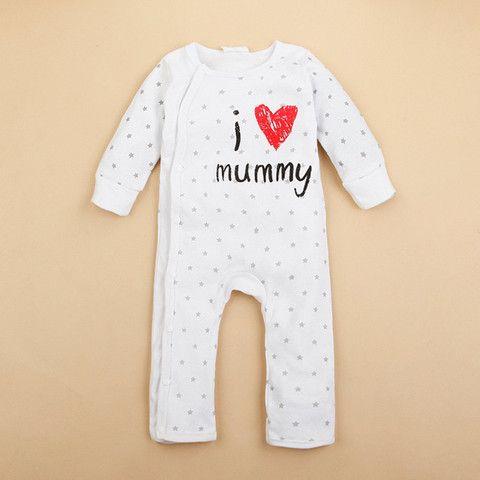 I Heart Mommy Onesie Romper Baby Boy Girl Unisex Toddler Round Neck Long Sleeve Stripe Letter Print $8.99 CAD