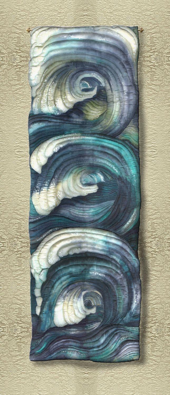 """Handpainted silk art quilt 46"""" x 16"""""""