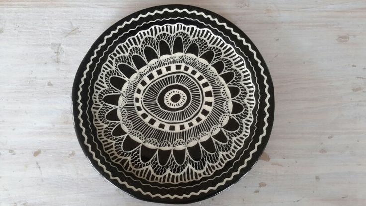 My black and white doodle on a dinner plate