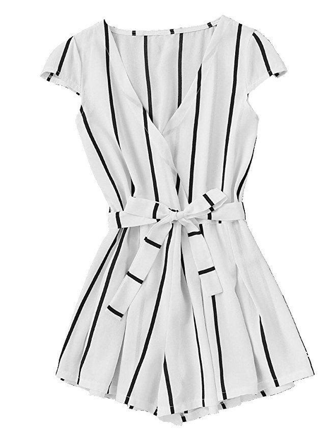 d22edb72cffb Romwe Women s Casual Vertical Striped Jumpsuit Romper with Belt White M