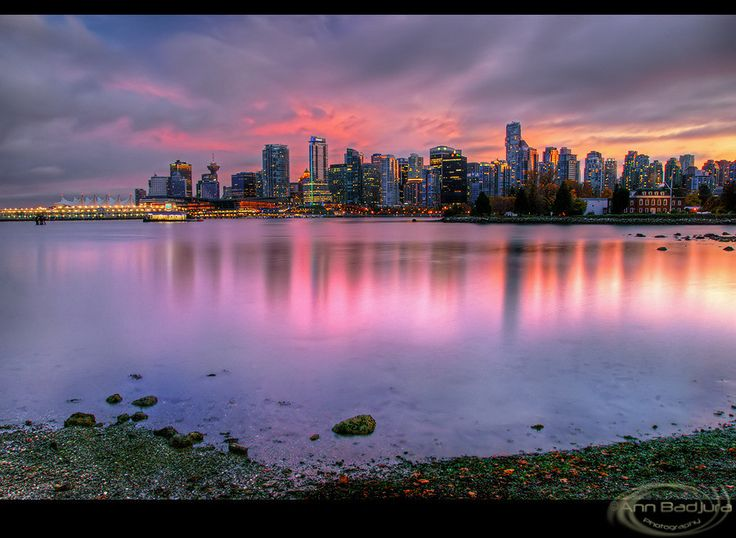A beautiful fall evening in Vancouver.  Here you have a view of downtown Vancouver from the Stanley Park seawall at sunset...taken by myself!