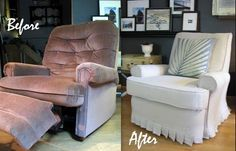 Recliner Slipcover Tutorial - this is amazing - she used a drop cloth and some foam and completely redid this chair.
