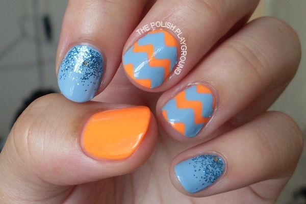 Guest Post Series, with The Polish Playground - Blue and Coral Chevron Nail Art Tutorial