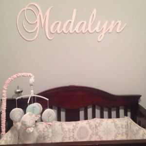 Wall Decor Connected Wooden Name Hanging Plaque Sign Glittered Nursery Baby Art Above A Crib