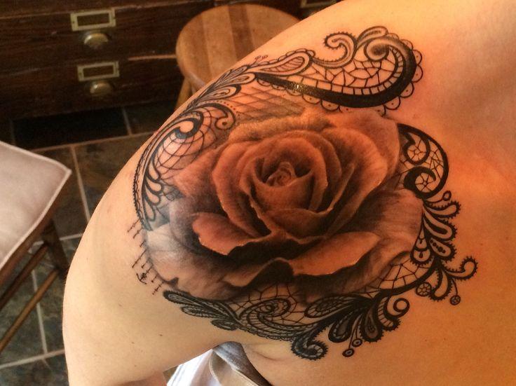 Velvet Blue Tattoos... Rose - lace work - black and white