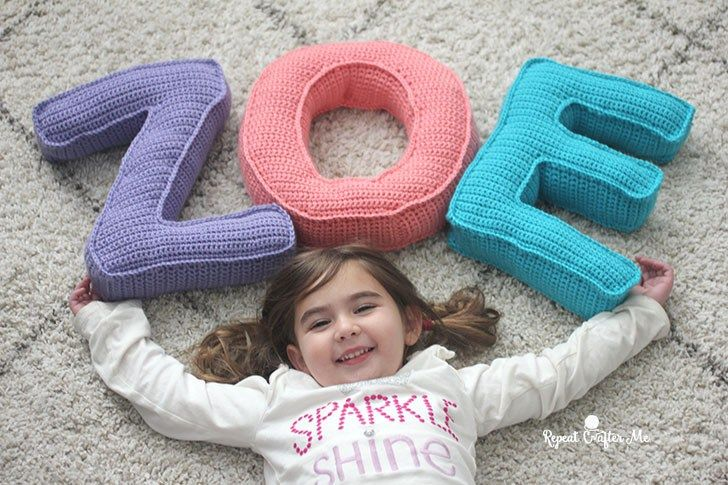 Caron Crochet Alphabet Letter Pillows