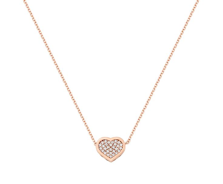 gold necklace with heart in 14k