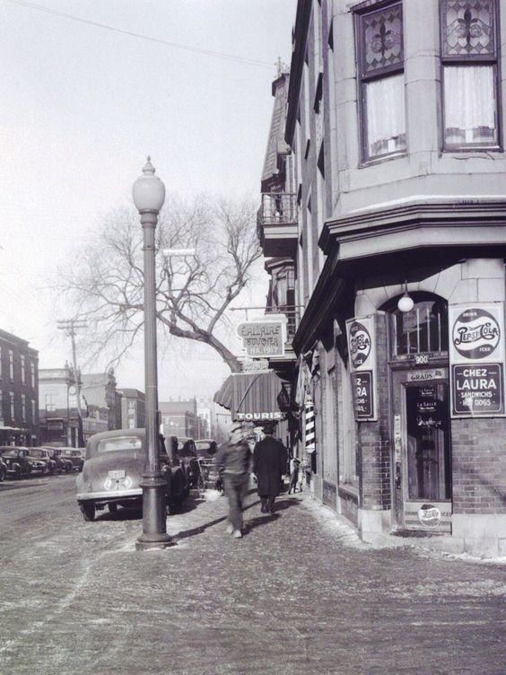 Boulevard de Maisonneuve vers l'est et rue St-André [1947]:: Ce Dépanneur est nommé Dépanneur K. (Mars 2017) et opéré par un nouveau arrivant Chinois-Canadien.