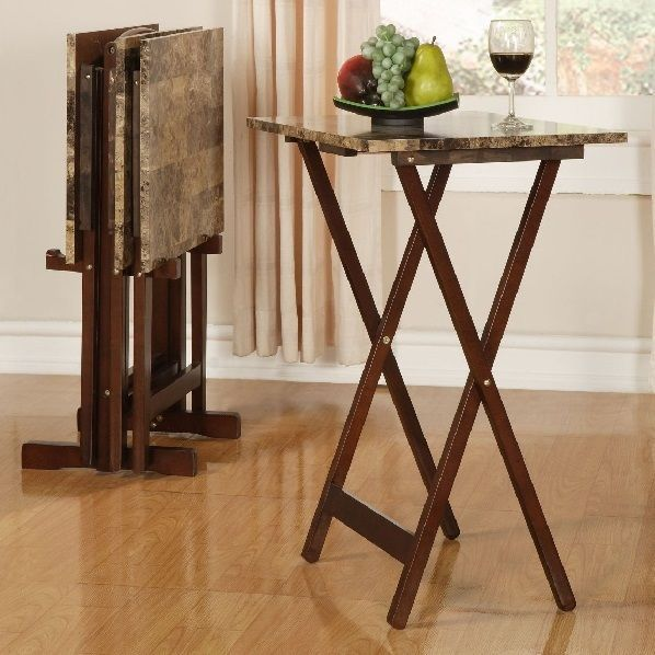 TV Tray Set Snack Tables With Stand Wood Folding Portable Dinner Furniture  Brown #Linon #
