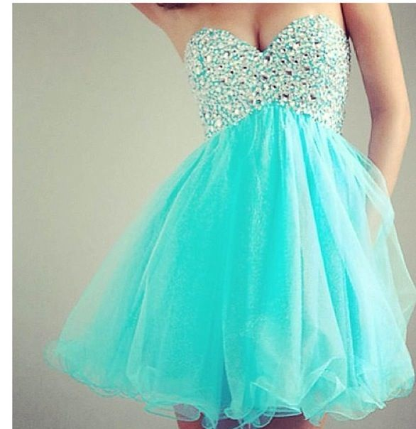 Ocean blue poofy dress