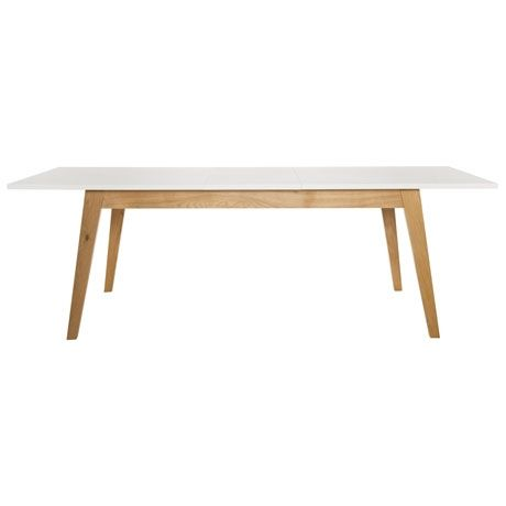 Tapered and splayed solid oak legs  •  Matte white lacquered finish table top on engineered board  •  Provides seating for eight people •  Clean lines and fresh Scandinavian• inspired design •  Matching dining chairs available •  Par  DIMENSIONS Width: 180 cm Height: 73.5 cm Depth: 90 cm