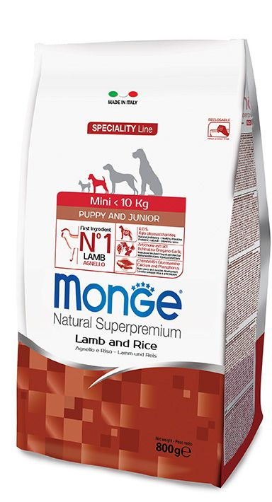 MINI PUPPY & JUNIOR LAMB AND RICE Kibbles Monge Natural Superpremium Speciality Line with Lamb and Rice are a complete food for puppy dogs of small sizes.