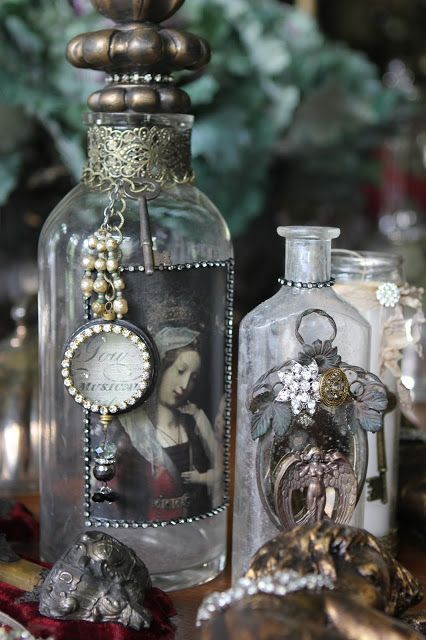 Romancing the Home: Altered Bottles and Tiaras- Fit for a Mantel!