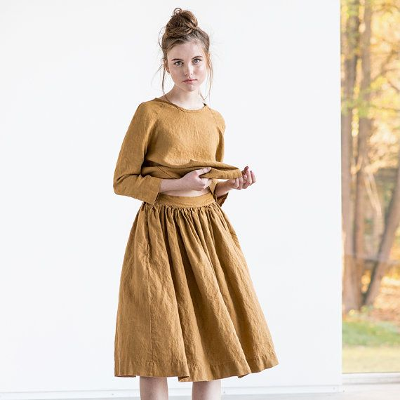 Linen skirt with deep pockets / A - line washed linen skirt / Midi linen skirt / High waist  linen skirt in amber yellow